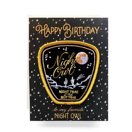 """ Night Owl "" Patch Greeting Card"