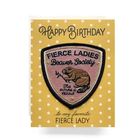 """ Fierce Lady "" Patch Greeting Card"