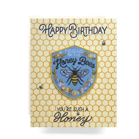 """ Honeybee "" Patch Greeting Card"