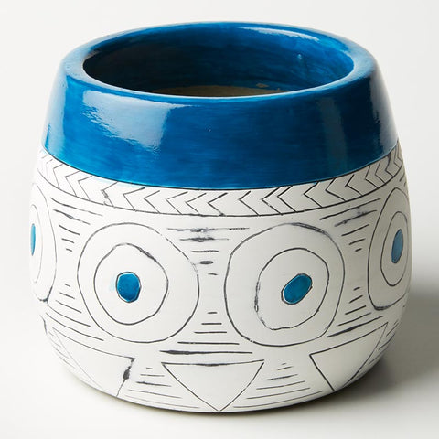 Blue Mudcloth Planter