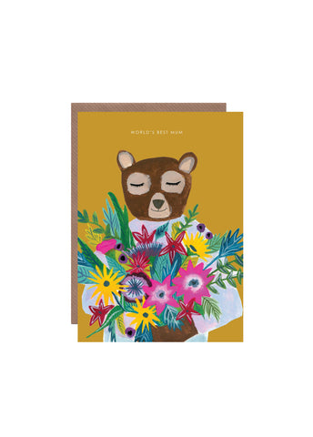 """ Bear With Vase "" Card"