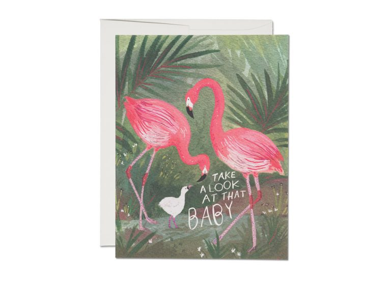 """ Flamingo Baby "" Card Greeting Cards - Thorn and Burrow"