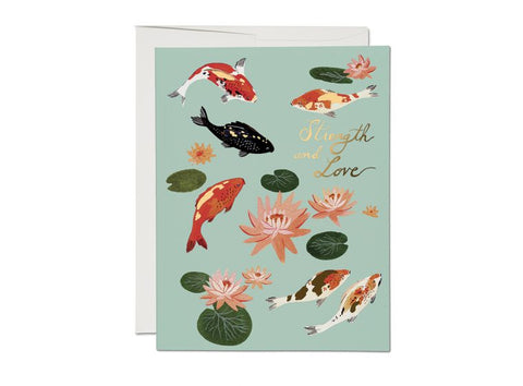 """ Koi Fish  "" Card Greeting Cards - Thorn and Burrow"