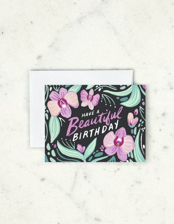 Orchid Birthday Card Greeting Cards