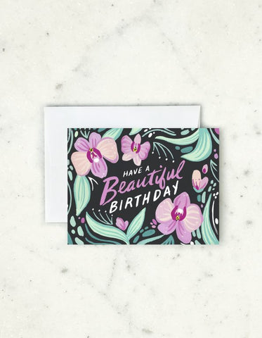 """ Orchid Birthday "" Card"