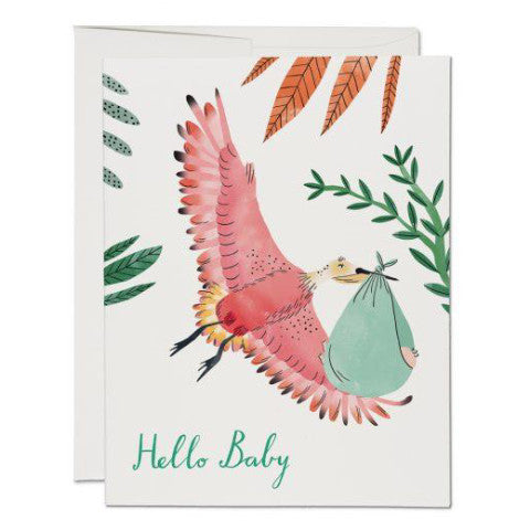 """Bird with Baby"" Card Greeting Cards - Thorn and Burrow"