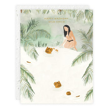 """ Swimming with Tigers "" Greeting Card"