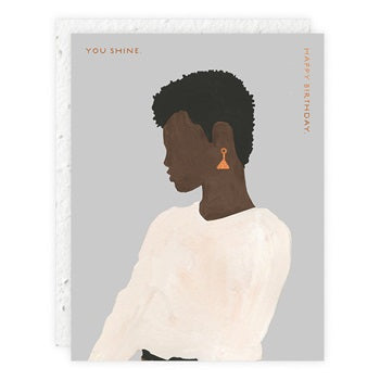 """ Girl in White Sweater "" Greeting Card"