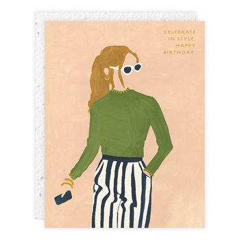 """ Girl Wearing Sunglasses "" Greeting Card"