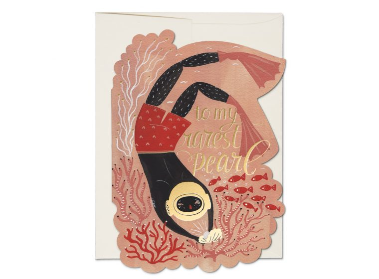 """ Pearl Diver "" Card Greeting Cards - Thorn and Burrow"