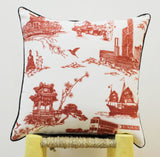Hong Kong Red Square Cushion Cover