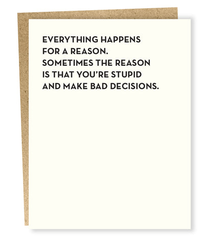 """ Bad Decisions "" Card"