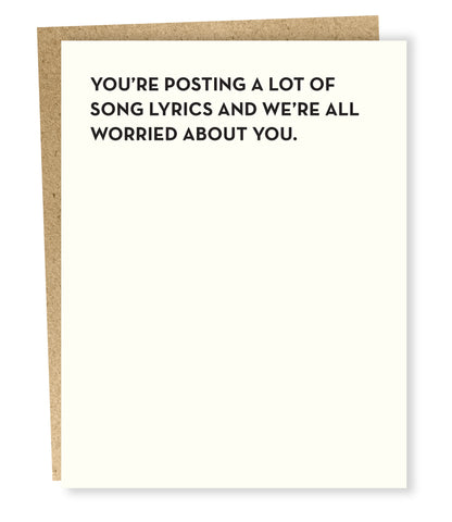 """ Song Lyrics "" Card"