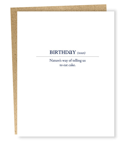 """ Birthday Definition  "" Card"