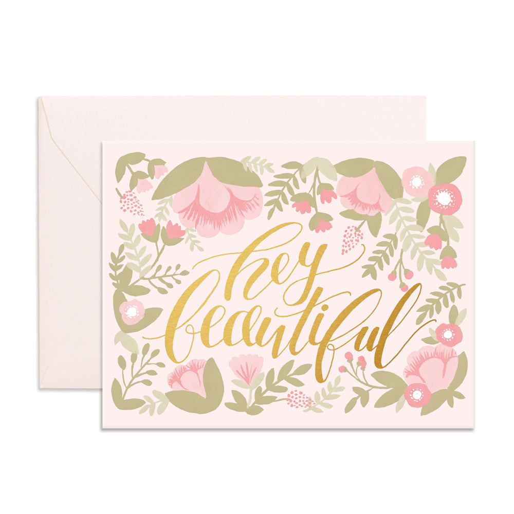 """ Hey Beautiful "" Card Greeting Cards - Thorn and Burrow"