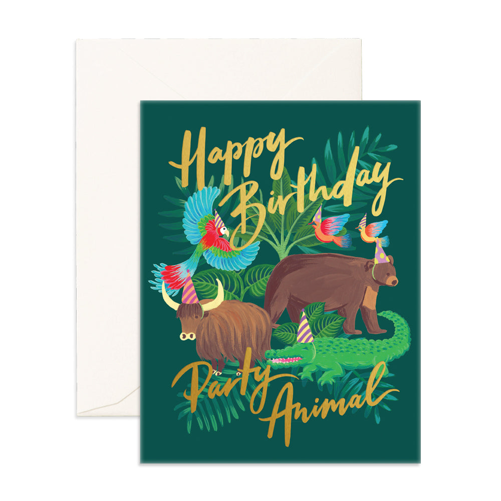 """ Party Animal "" Card Greeting Cards - Thorn and Burrow"
