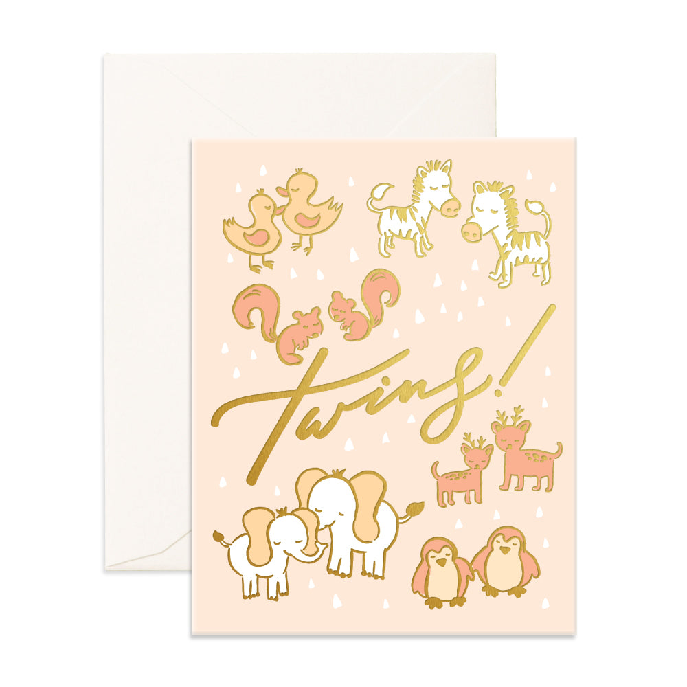 """ Twins "" Card Greeting Cards - Thorn and Burrow"