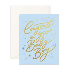 """ Congrats Baby Boy "" Card Greeting Cards - Thorn and Burrow"