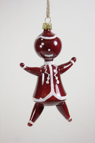 BLOWN GLASS GINGERBREAD MAN ORNAMENT