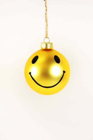 MATTE YELLOW SMILEY FACE ORNAMENT