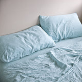 Baby Blue Linen Bed Set Bedding - Thorn and Burrow