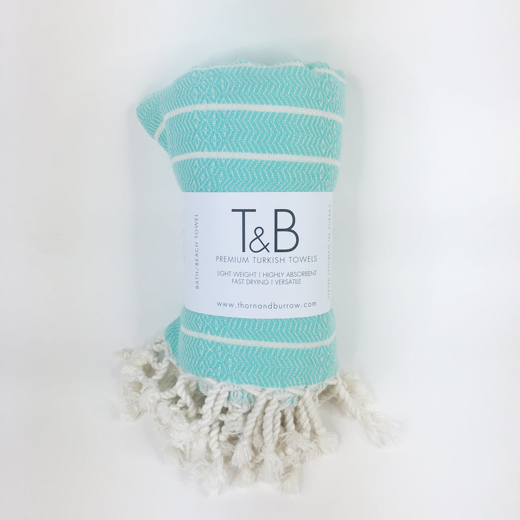 Medium Sea Green Bamboo & Cotton Turkish Towel