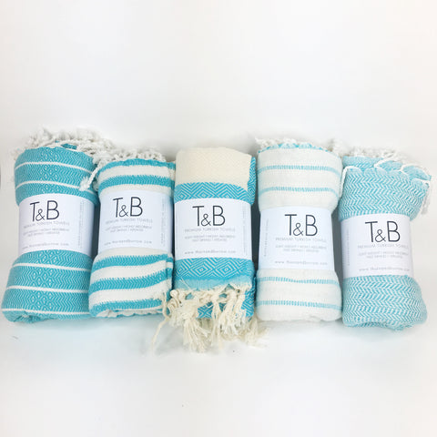 Turquoise Bamboo & Cotton Turkish Towel