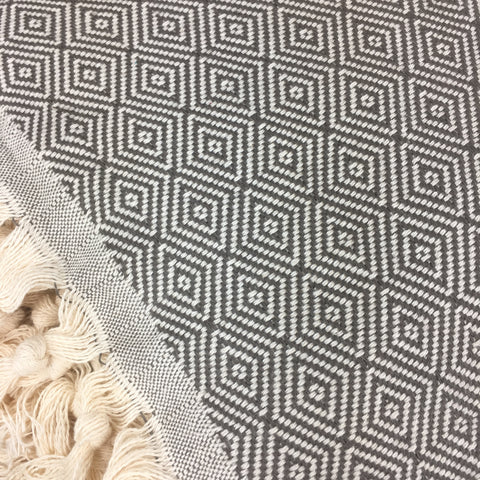 Deep Grey Diamond Throw