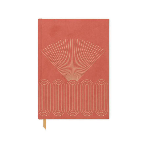 Bright Terracotta Radiant Rays Journal - Bookcloth Cover Book Bound