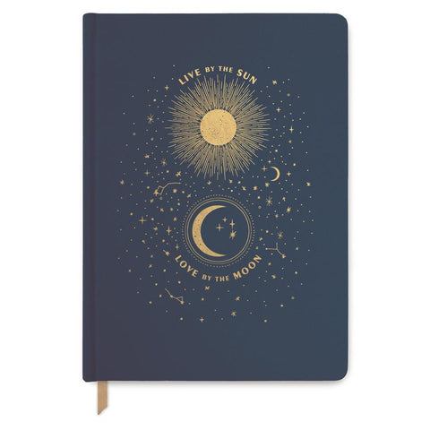 "Blue "" Live By The Sun "" Journal - Bookcloth Cover Book Bound"