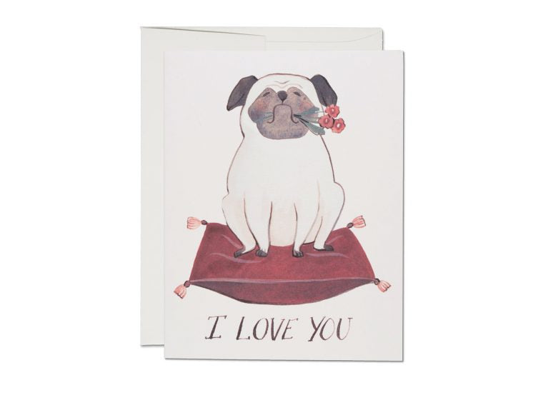 """ Pug Love "" Card Greeting Cards - Thorn and Burrow"