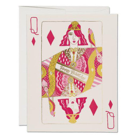 """ Queen of Diamonds "" Card Greeting Cards - Thorn and Burrow"