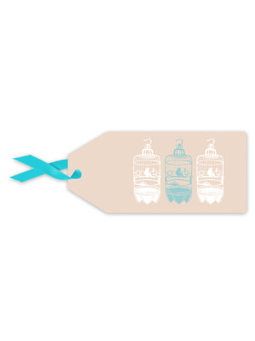 Linen Birdcage Gift Tag