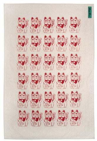 Lucky Cat Tea Towel
