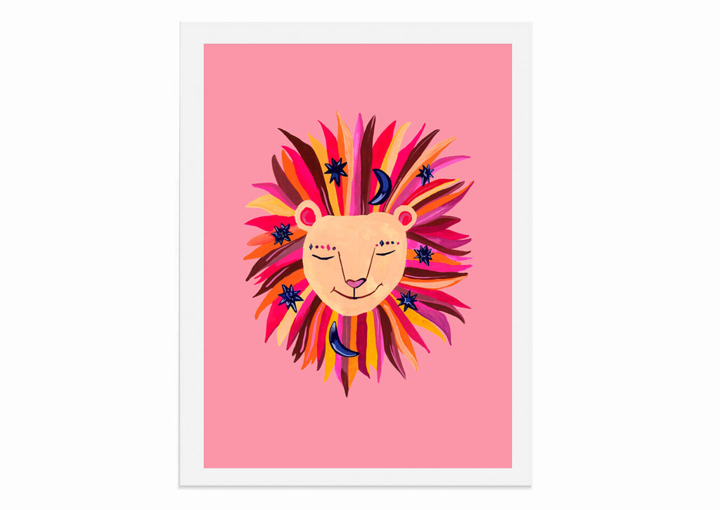 Magical Party Lion Art Print