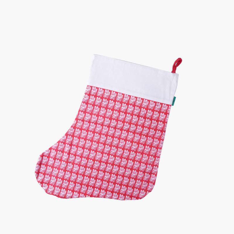 Lucky Cat Christmas Stocking