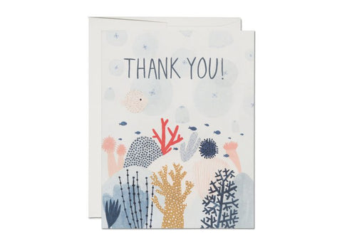 """  Coral Reef Thank You "" Card Greeting Cards - Thorn and Burrow"