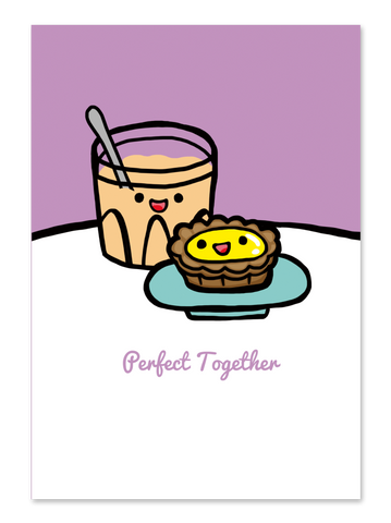 """ Milk Tea & Egg Tart "" Card Greeting Cards - Thorn and Burrow"