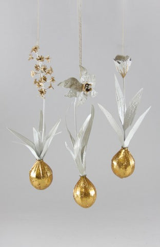 FLOWER BULB WHITE GOLD 3 ASST ORNAMENT