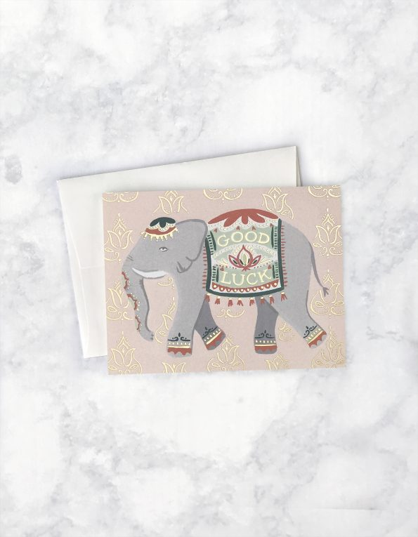 """ Lucky Elephant "" Card Greeting Cards - Thorn and Burrow"