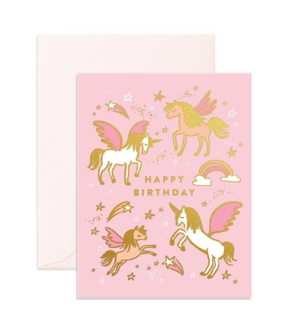 """Happy Birthday Unicorns"" Greeting Card"