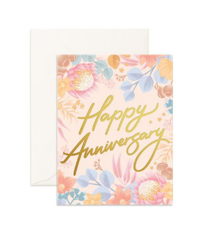 """Happy Anniversary Floribunda"" Greeting Card"