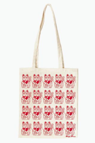 Lucky Cat Canvas Tote Bag
