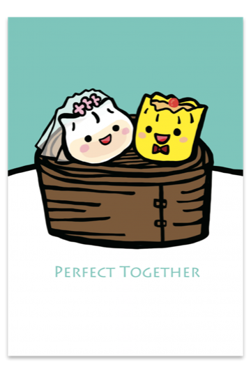 Perfect Together Dumpling Wedding Card