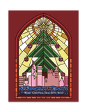 """ Red Stained Glass "" Christmas Card"