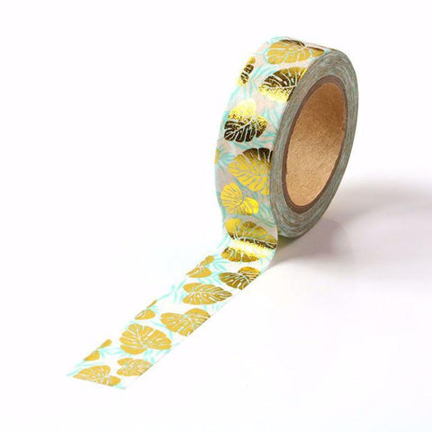 Monstera Leaves Gold Foil Washi Tape