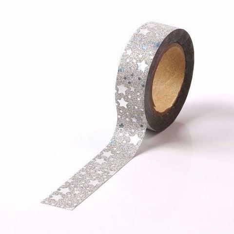 Silver Star Sparkle Glitter Washi Tape