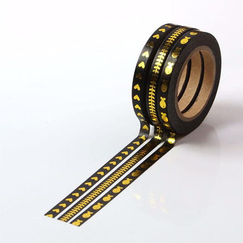 Slim Gold Foil Black Washi Tape
