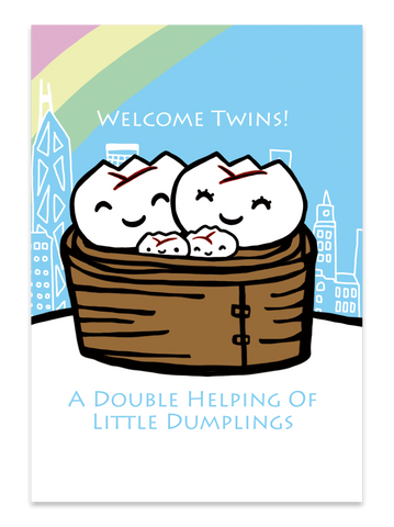 """ Welcome Twins "" Card Greeting Cards - Thorn and Burrow"