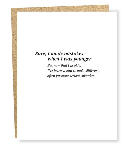 """ Serious Mistakes "" Card"